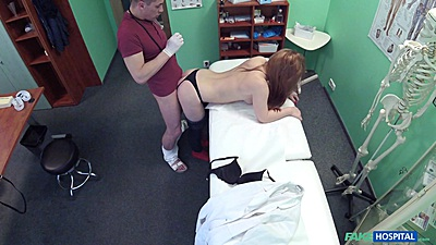 Redhead Alex bent over by doctor for rear exam views:634