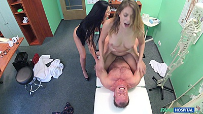Ani and Vanessa in doctor and wife screwing husband on hospital bed 3some views:6042