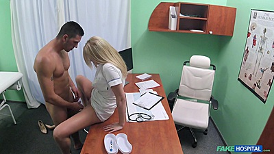 Blonde nurse gets a quickie fuck from patient in doctors office views:1240