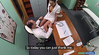 Doctor slowly takes off nurse Mea panties and eats her out on his desk views:892