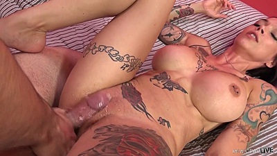 Front sex in her bald vagina with open legs Anna Bell Peaks on bed views:522