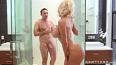Super busty Nicolette Shea joins man in shower views:2340