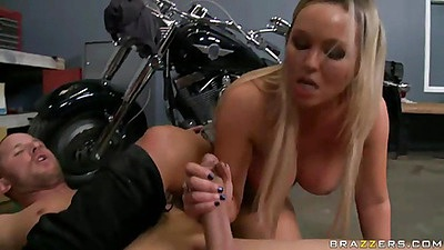 Abbey jerking mechanics cock then puts it inside