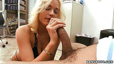 Milf sucking dick and stroking it