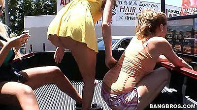 Fuck team five babes with Bridgette B in back of truck
