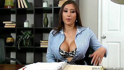 Alexis spreading her pussy and revealing tits in office