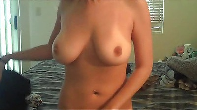 Babe gf with big natural tits doggy style using dildo