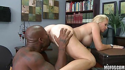 Interracial fucking for busty blonde milf