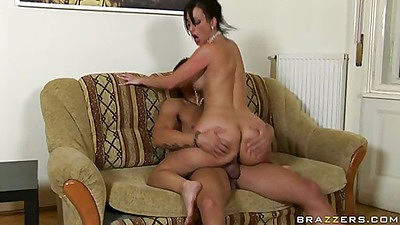 Cowgirl fucking anal Simone on the couch