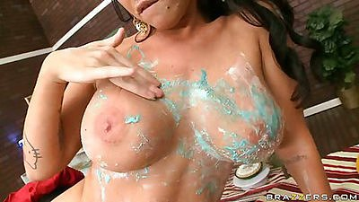 Hot big tits babe Brandy doing reverse blowjob
