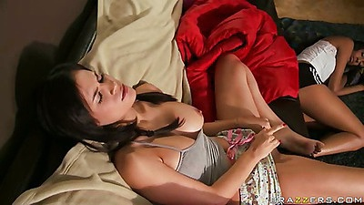 Ariella and Vanessa masturbating on couch
