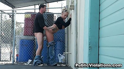 Outdoors sex in public behind the fence