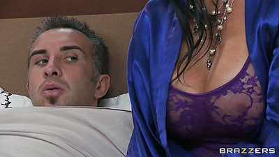 Big tits milf Vanilla Deville sitting by the bed
