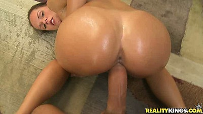 Teen with tight oiled up ass doggy style with a pov close up