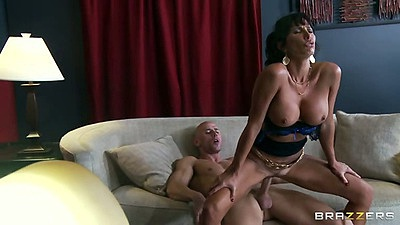 Reverse cowgirl a tanned milf Lezley Zen sitting on cock riding it