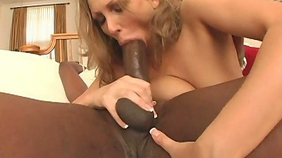 Natural tits Mandy Bright big black cock sucking with anal doggy style close up