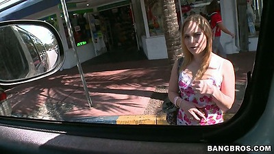Outdoor bangbus pickup of amateur teen Abbie Anderson