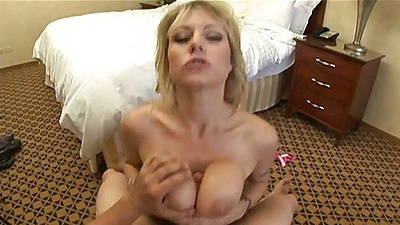 Titty fuck from nice Velicity Von in a hotel room and she spreads hairy pussy