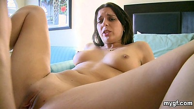 Horny gf with shaved pussy and medium tits fucked with anal