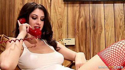 Brunette Karina White masturbating while on the phone