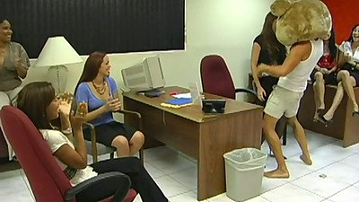 Dancing bear rubbing on teens at the office