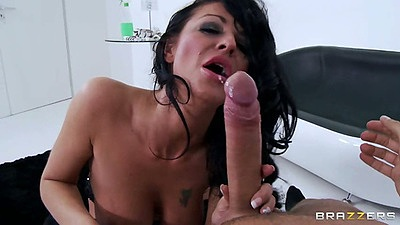 Big dick blowjob from busty mifl Tia Layne and fingering that trimmed pussy