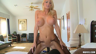 Cowgirl fucking nice white big tits milf Blake Rose with fat black cock