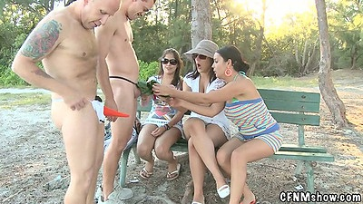 Outdoor cfnm group blowjob and doggy style fuck