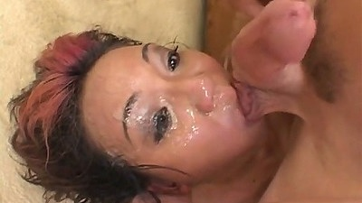 Asian cum faced slut Keeani Lei in group gang bang