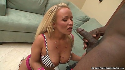 Hot blondie sucks some dick