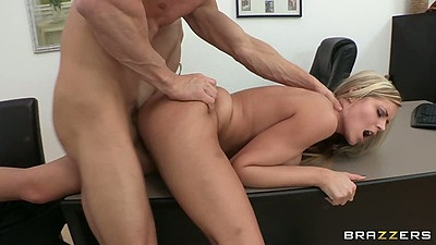 Doggy style fucking Darcy Tyler on the office table an couch