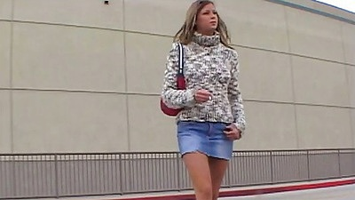 Outdoor in a tight miniskirt Monica SweetHeart