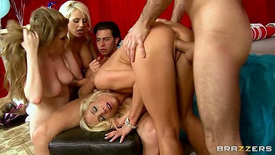 Jacky Joy and Faye Reagan fucked doggy style in a foursome