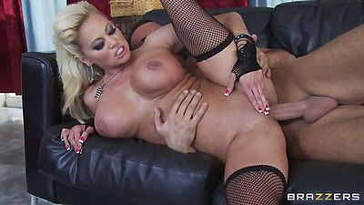 Big tits mom milf Nikita Von James sideways penetration and big dick blowjob