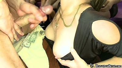 Dancing bear cumming on big tits at a party