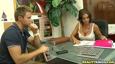 Brunette milf mature in the office