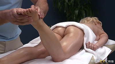 Nice oil massage with shaved pussy Candy Manson on the table