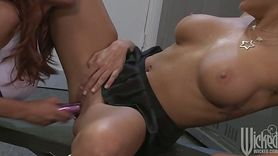 Nice athletic lesbian cheerleaders Kirsten Price and Briana Blair fucking dildo