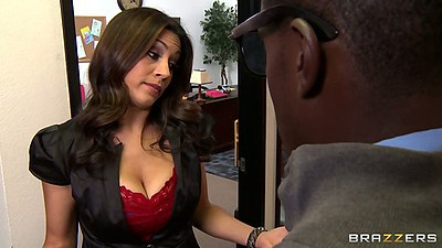 Big tits milf Raylene looking for some black dick in the office