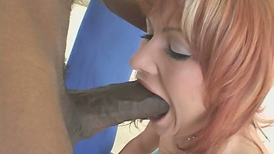 Blowjob and deep throat attempt with Katja Kassin on giant black dong