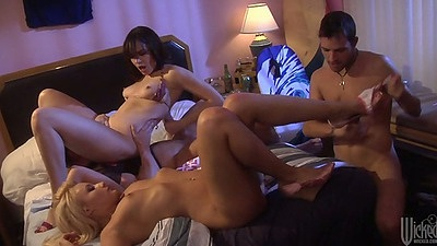 Group sex with natural tits Mallory Rae Murphy and Dana DeArmond with blowjobs