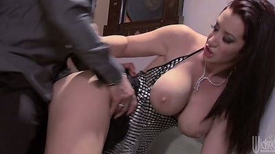 Jayden Jaymes doggy style sex in the office half dressed