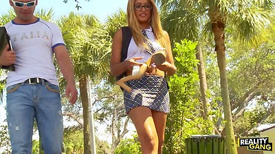 Public college slut Natalia Robles in miniskirt outdoors walking around