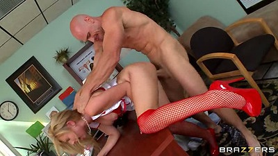 Doggy style sex with naughty nurse Molly Bennett in office