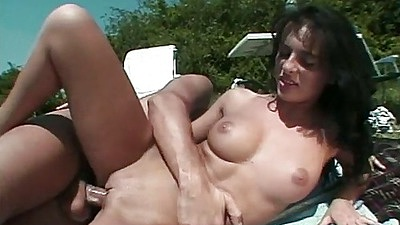 Sideways anal and cowgirl with natural medium tits Gabriella Black outdoors