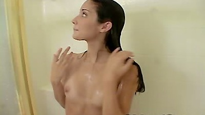 Chloe18 taking a solo shower washing her 18 year old tits and pussy