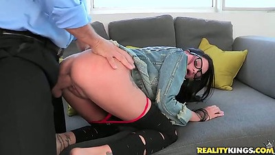 Doggy style sex with pulled down panties half dressed 18 year old Raven Bay
