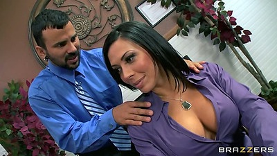 Big tits Phoenix Marie and Rachel Starr engage in a threesome sex in office