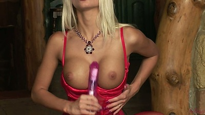 Adelle putting dildo between her nice big tits and fucks her pussy