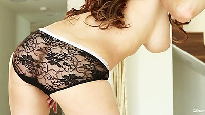 Big tit Emily Addison posing in see through panties and fingering pussy